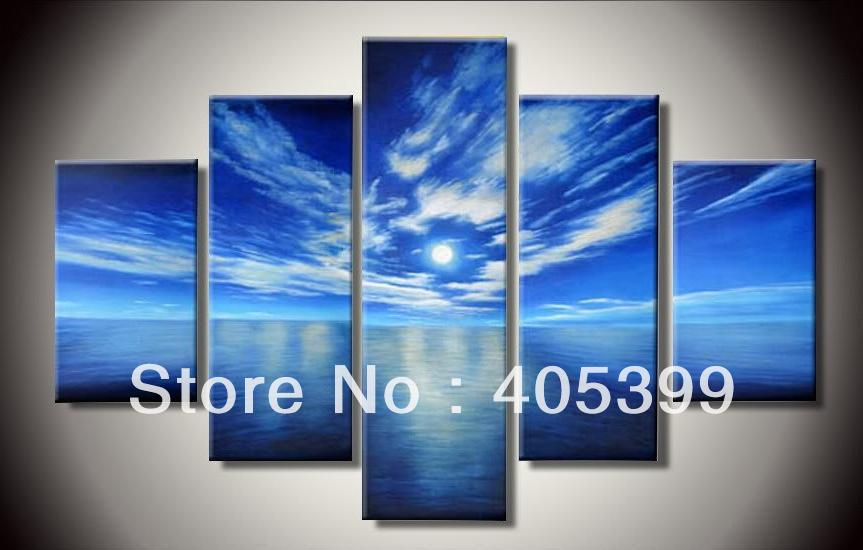 Blue Sky Seascape Canvas Painting Art , Hand painted Modern Oil Painting On Canvas Wall Art for Home Decoration Gift  JYJLV246
