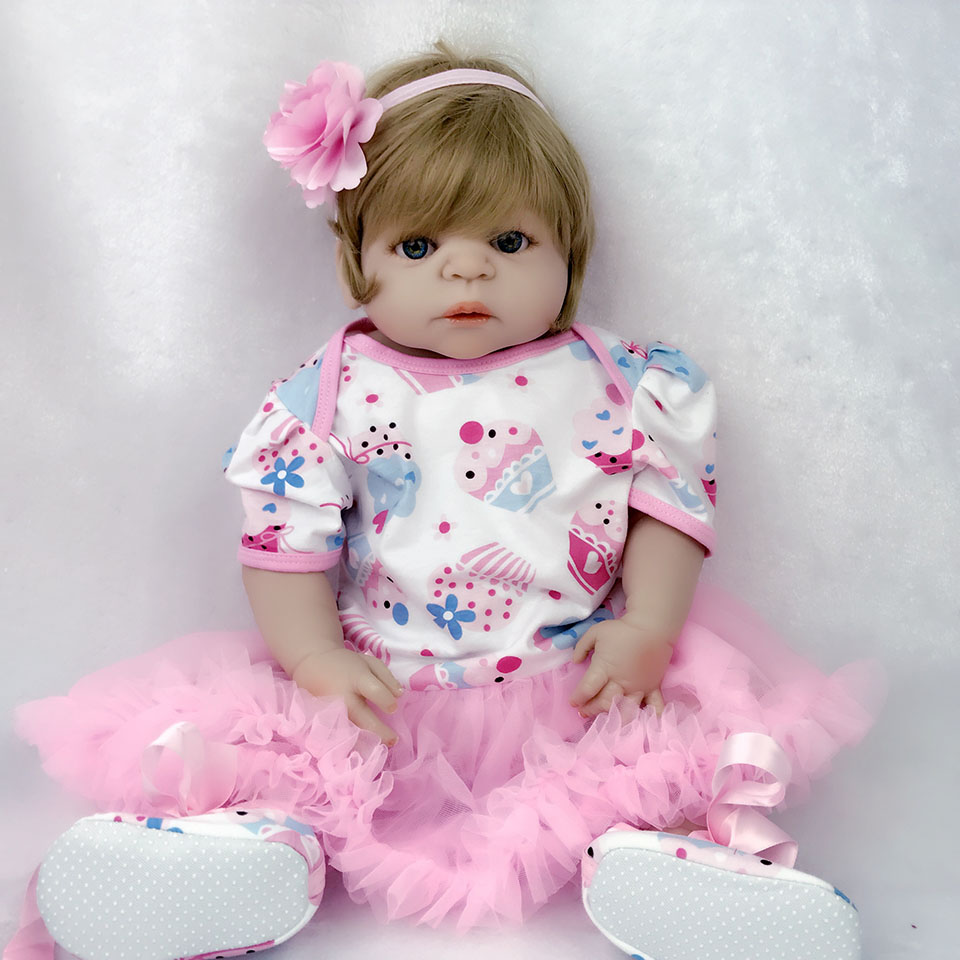 Alive Cute Full Vinyl Body Reborn Baby Doll Toys Realistic Princess Girl 23'' 57 cm Baby Dolls Waterproof Baby Toy For Children lifelike american 18 inches girl doll prices toy for children vinyl princess doll toys girl newest design