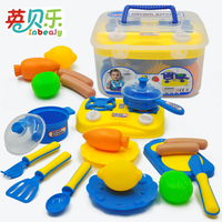 Plastic Fruit Vegetable Spoon Bowl Kitchen Box Cutlery Set Pretend Play Education Toy Cook Cosplay for Baby Kids Children