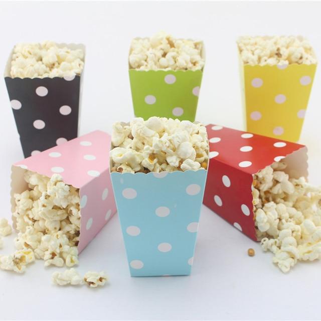 12pcs lot colorful dots stripes mini party paper popcorn boxes candy
