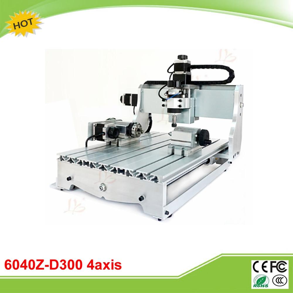 New 6040Z-D300 4 axis mini CNC drilling milling machine free tax to RU 6040z d300 3axis mini cnc milling machine lathe ball screw 300w spindle free tax to ru