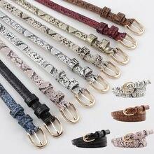 Hirigin Women Belt Classic Snake Skin Print Leather Waistband Pin buckle Thin