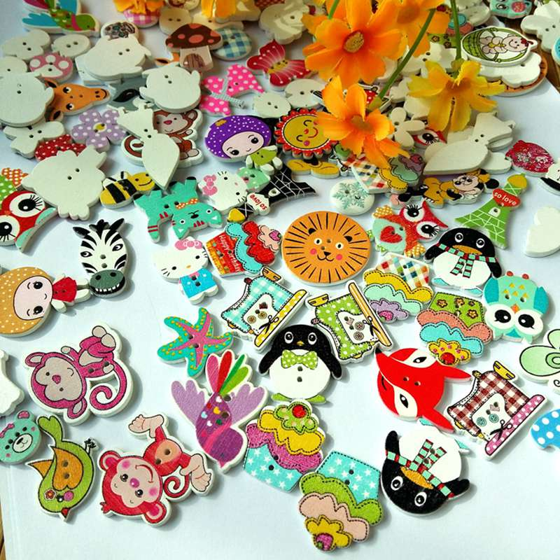 Active 60pcs 2 Holes Assorted Random Mix White Background Round And Animals Pattern Cartoons Wood Sewing Buttons Decorative Zmk-0001 Moderate Price