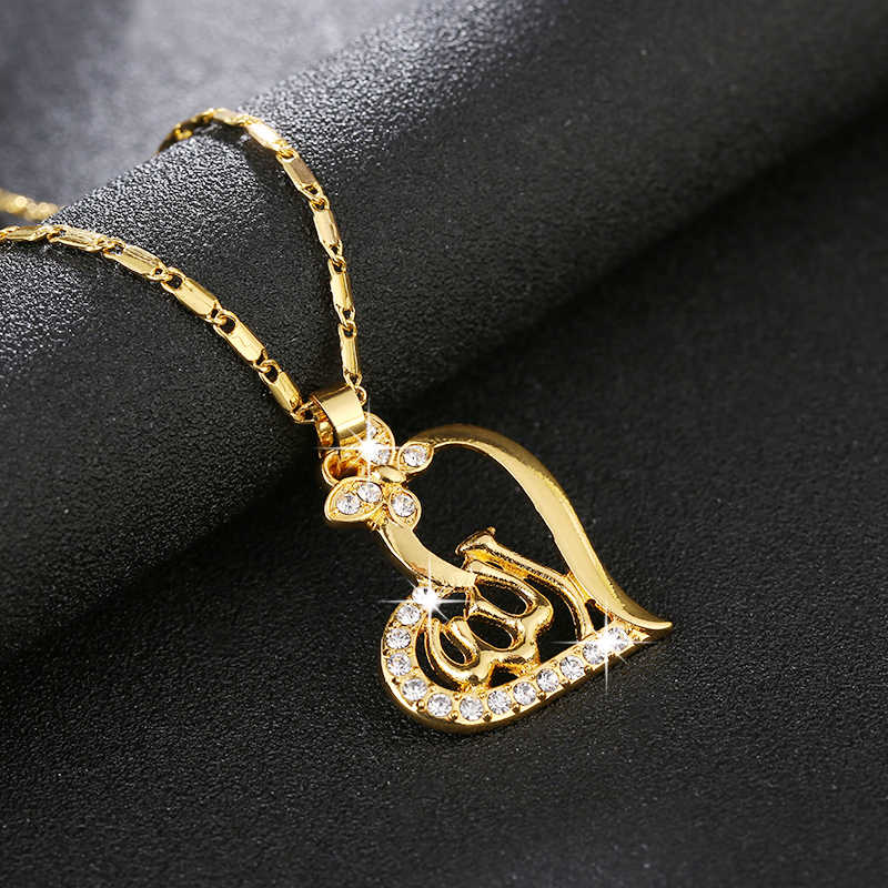 Trendy Charm Heart Islamic God Allah Muslim Pendant necklace