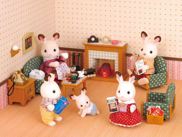 Genuine Sylvanian Families Luxury Living Room Miniature Dollhouse Furniture  Toys Mini Fireplace Drawing Room Kids Pretend