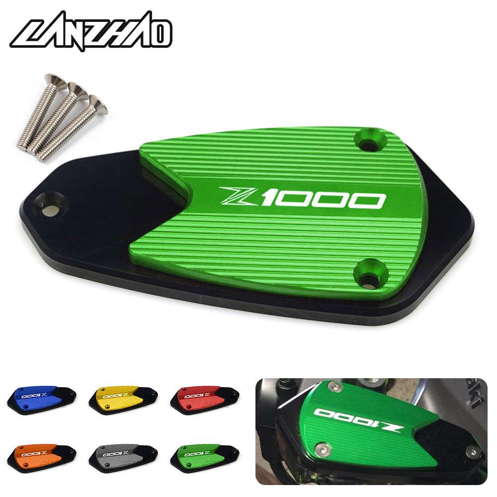 CNC Aluminum Motorcycle Front Brake Clutch Fluid Tank Reservoir Oil Cup Cover Cap Green for <font><b>Kawasaki</b></font> <font><b>Z1000</b></font> <font><b>2010</b></font> - 2016 2017 2018 image