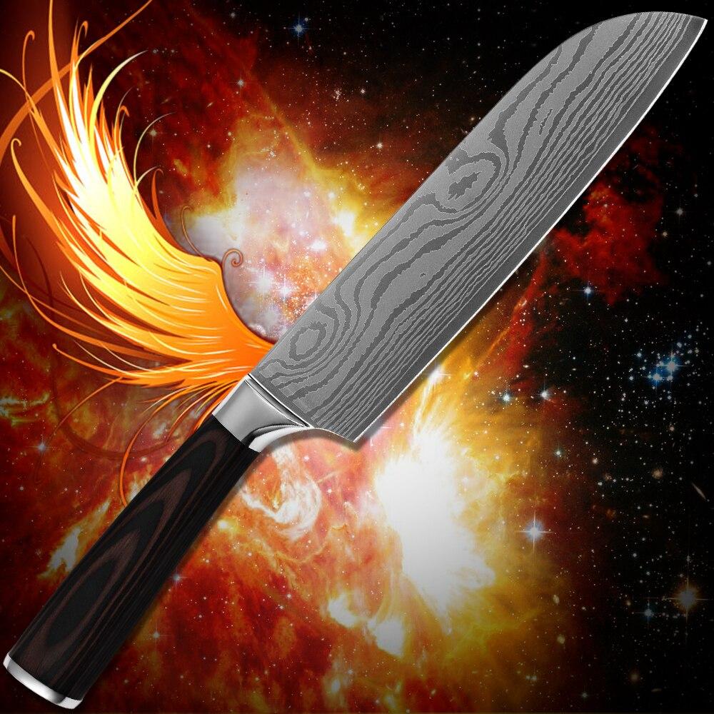 Kitchenware 7 inch santoku font b knife b font stainless steel Damascus pattern kitchen font b