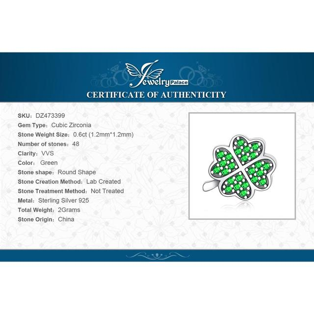JewelryPalace Luck Irish Clover 0.6ct Green Cubic Zirconia 925 Sterling Silver Charm Beads For Women 2018 New Hot Sale