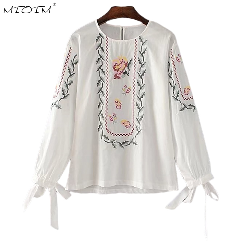 Hearty Vintage Linen Embroidery Bohemian Womens Holiday Shirts Sexy Slash Neck Off Shoulder Bandage Lantern Sleeve Blouses Tops Blusas Punctual Timing Women's Clothing