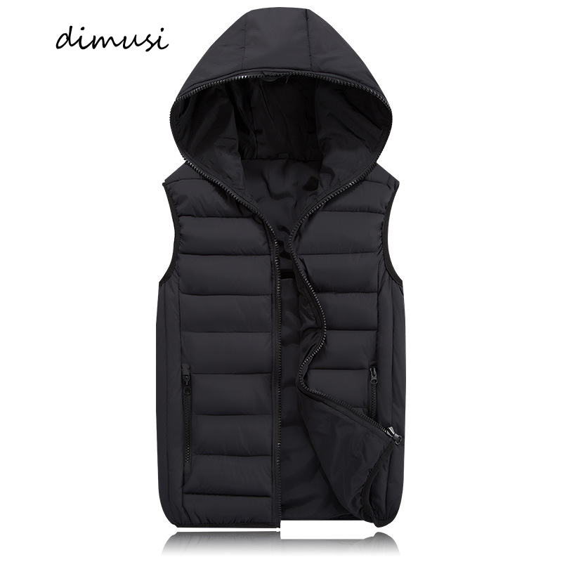 DIMUSI Mens Jacket Sleeveless Vest Winter Fashion Male Cotton-Padded Thicken Vest Men Waistcoat Jackets Clothing 4XL,YA980