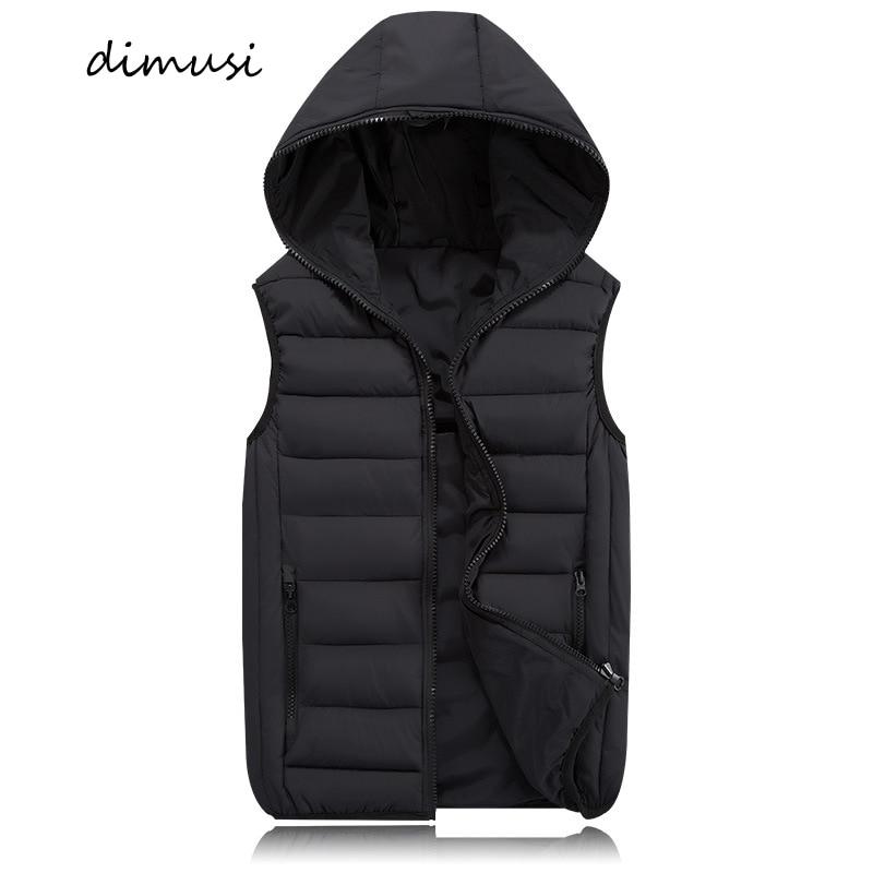 DIMUSI Mens Jacket Sleeveless Vest Winter Fashion Male Cotton-Padded Thicken Vest Men Waistcoat Jackets Clothing 4XL,YA980