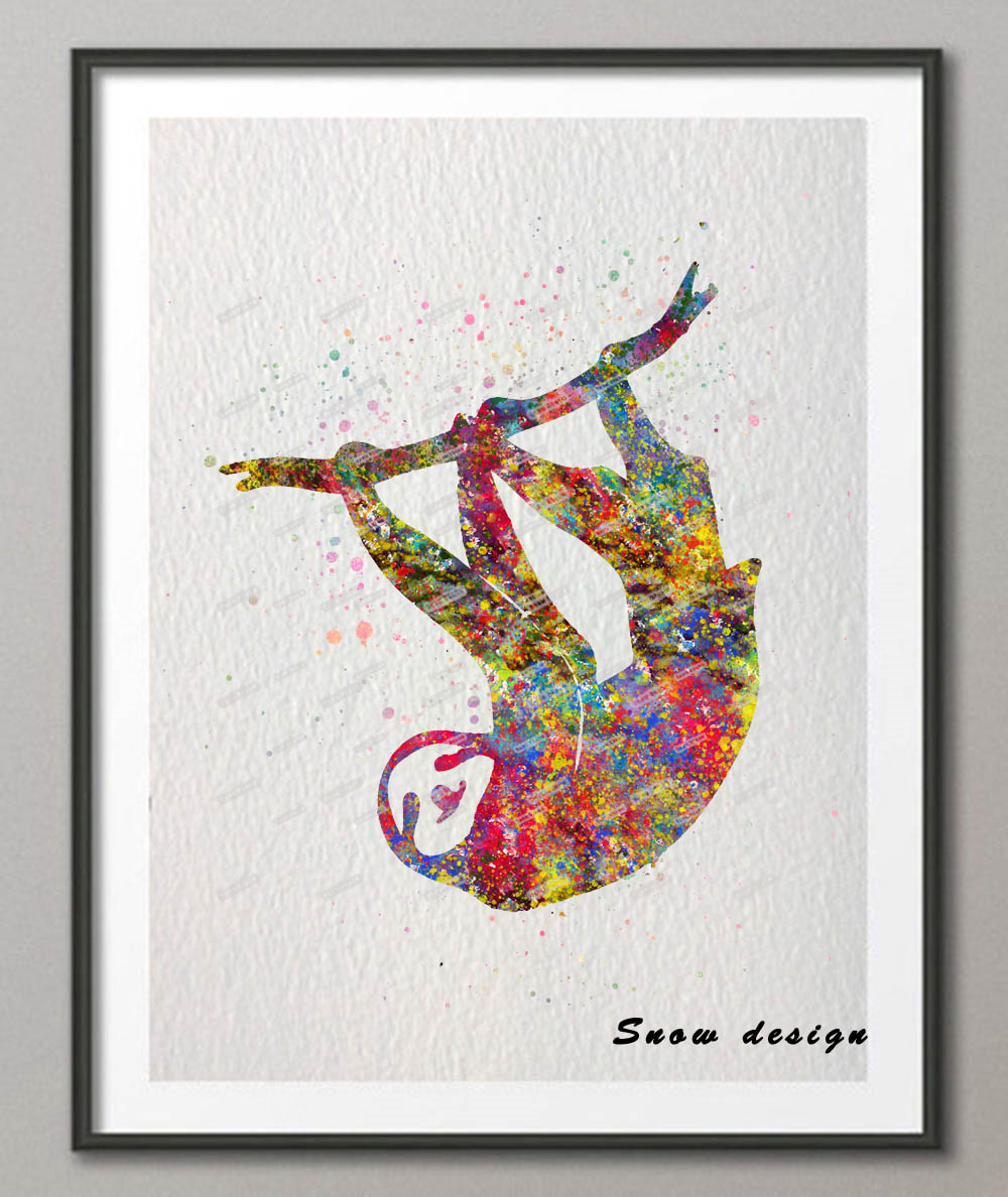 Diy original sloth watercolor canvas painting wall art poster print pictures living room home decor wall hanging christmas gifts in painting calligraphy