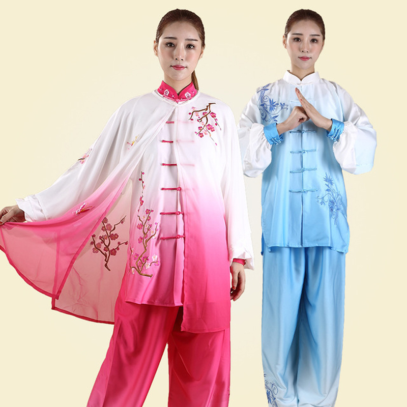 3PC Chinese Tai Chi Clothing Taiji Performance Suit Wushu Demo Kungfu Uniform Embroidery For Women Girl Kids Adults Female