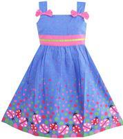 Girls Dress Blue Bug Pink Dot Children Clothing 2 8