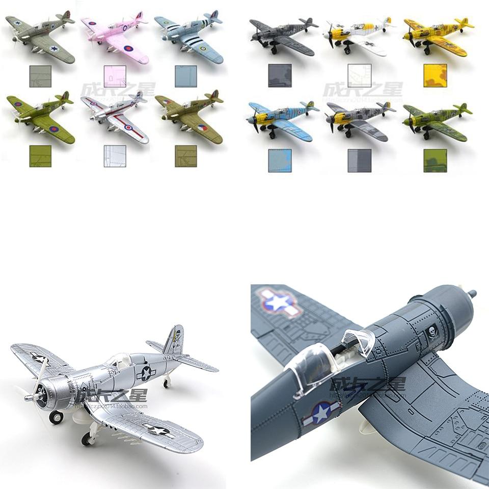 ФОТО SAINTGI 6pcs Fighter F4U Corsair bf109 Spitfire diy kits plane pvc 12cm puzzel plastic militaire helicopter monteren Assembling