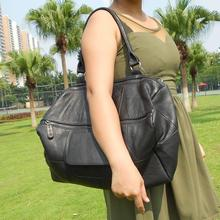 цены women real leather big black one shoulder bag female soft genuine leather totes first layer cowhide extra large messenger bag
