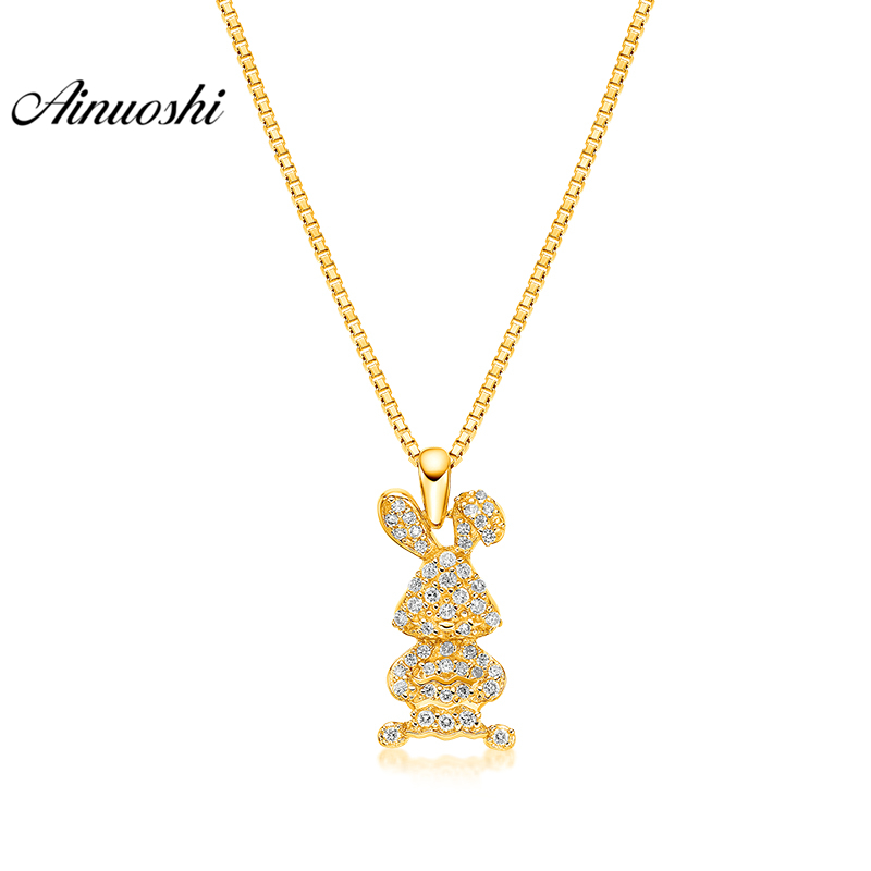 все цены на AINUOSHI 10K Solid Yellow Gold Pendant Little Rabbit Pendant SONA Diamond Women Men Children Jewelry Cute Bunny Separate Pendant онлайн