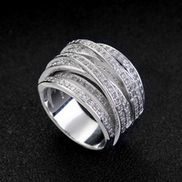 Valentines Gift Silver Plated Rings Multi Layer Design Prong Setting High Quality Cubic Zircon Jewelry Wedding