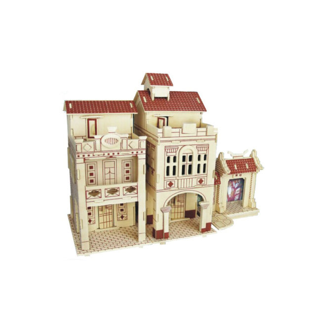 Chanycore Baby Learning Educational Wooden Toys 3D Puzzle Building House Villa Church Farmhouse Tower European Kids Gifts 4311