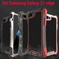 100% original de la marca r-sólo metal gorilla glass case para samsung galaxy s7 edge cubierta de fibra de carbono a prueba de agua