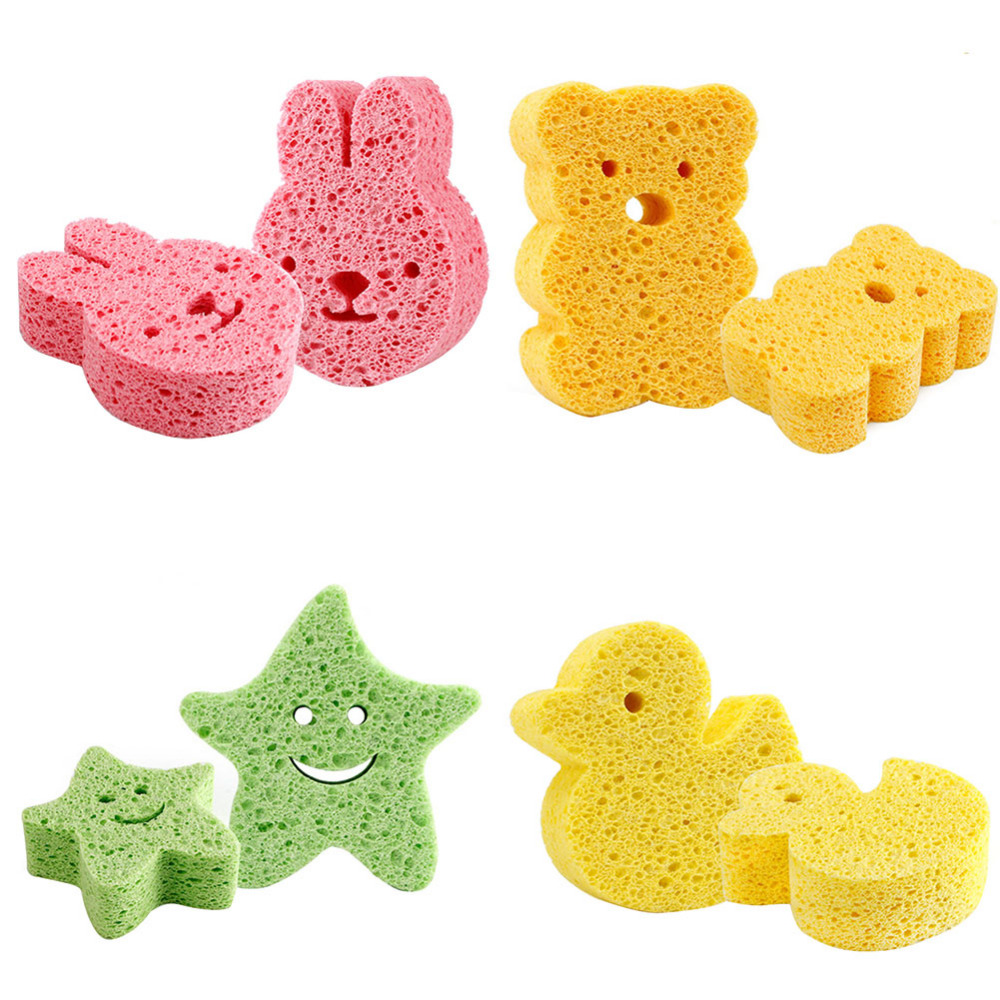Baby Bath Sponge Bath Brushes Infant Cute Cartoon Shape Loofah Shower Scrub Baby Bath & Shower Products ...
