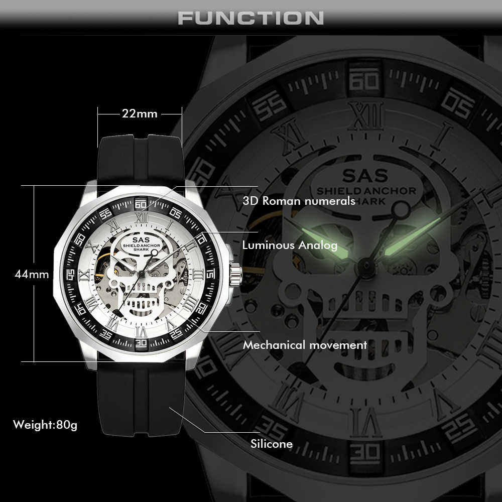 SAS Shield Anchor Shark Sport Watch Men Fashion 3D Skull Big Dial Vintage  Mechanical Watches Silicone Strap Skeleton Watch