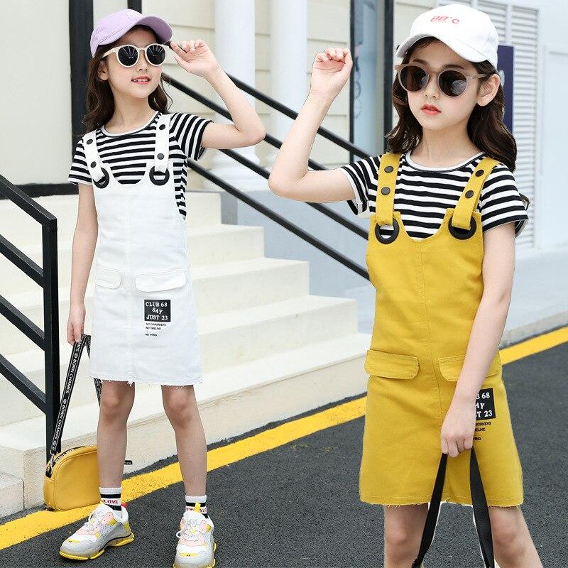 Girls Suspenders Dress 2 Pcs Set 2019 Summer Fashion Kids Stripe T-Shirts And Dresses Set For Girl 5 7 9 11 13 Year Clj144 35