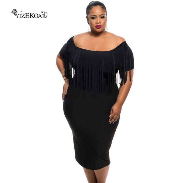 Plus Size Women Clothing 2018 Rosy/Black Off The Shoulder Short ...