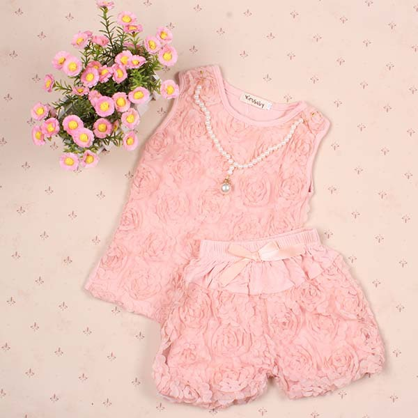3-8Y Princess Rose Vest Shirt Pants Set Kid Pink Flower Tops Bloomers Suits slum upgrading and its contribution to environment sustainability