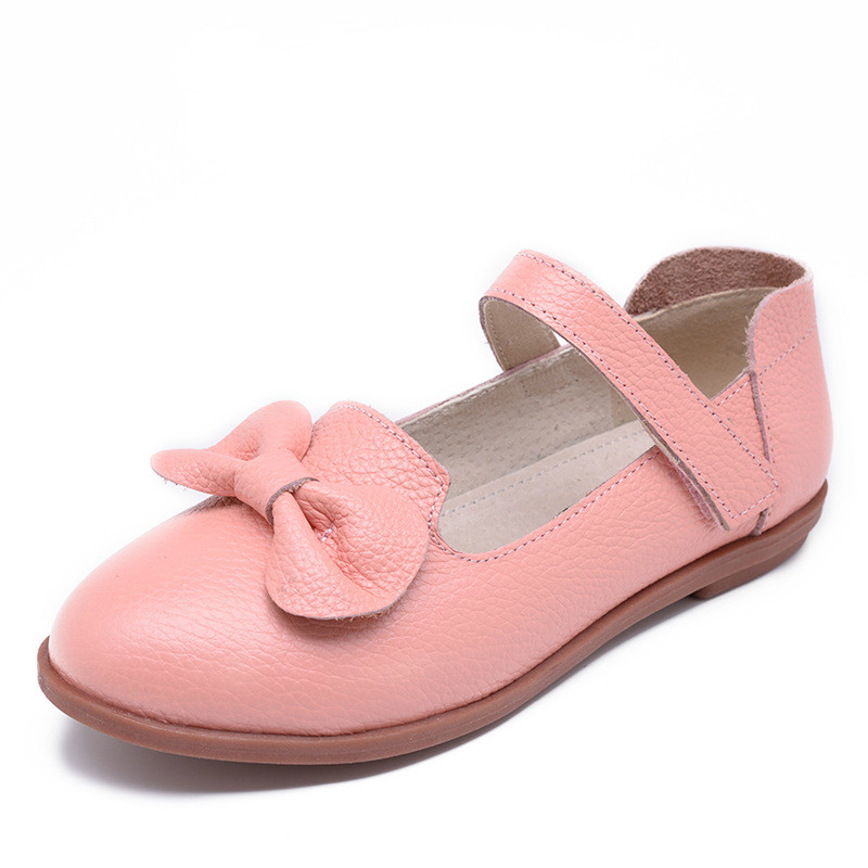 Girls Genuine Leather Shoes 2017 New Children's Princess Flower Fashion Sneakers Kids Knot Flat Shoes