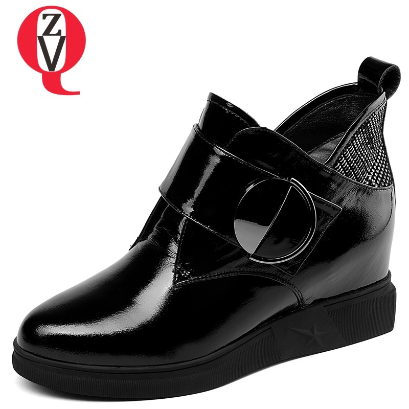 ZVQ 2018 winter new fashion patent leather women shoes metal decoration med height increasing hook and loop black ankle boots термокружка el gusto grano blue 110b