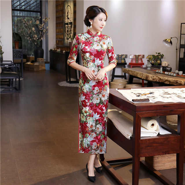 aa8c06c1bae New Arrival Velour Vintage Print Flower Slim Long Cheongsam Traditional Chinese  Women Dress Lady Elegant Qipao Plus Size M-4XL