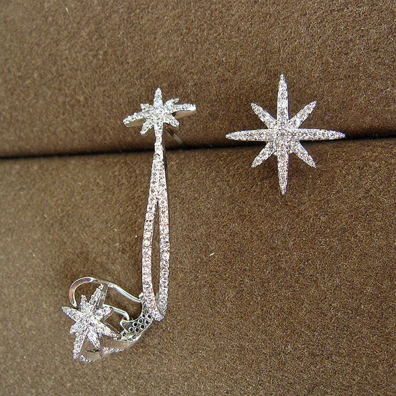 Fashion AAA cubic zirconia asymmetrical starlight eearrings,womens accessaries,EC002