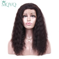 MQYQ Deep Wave Indian Human Hair 360 Lace Frontal Wig For Black Women Natural Black Curly Remy Short Full Lace Human Hair Wigs