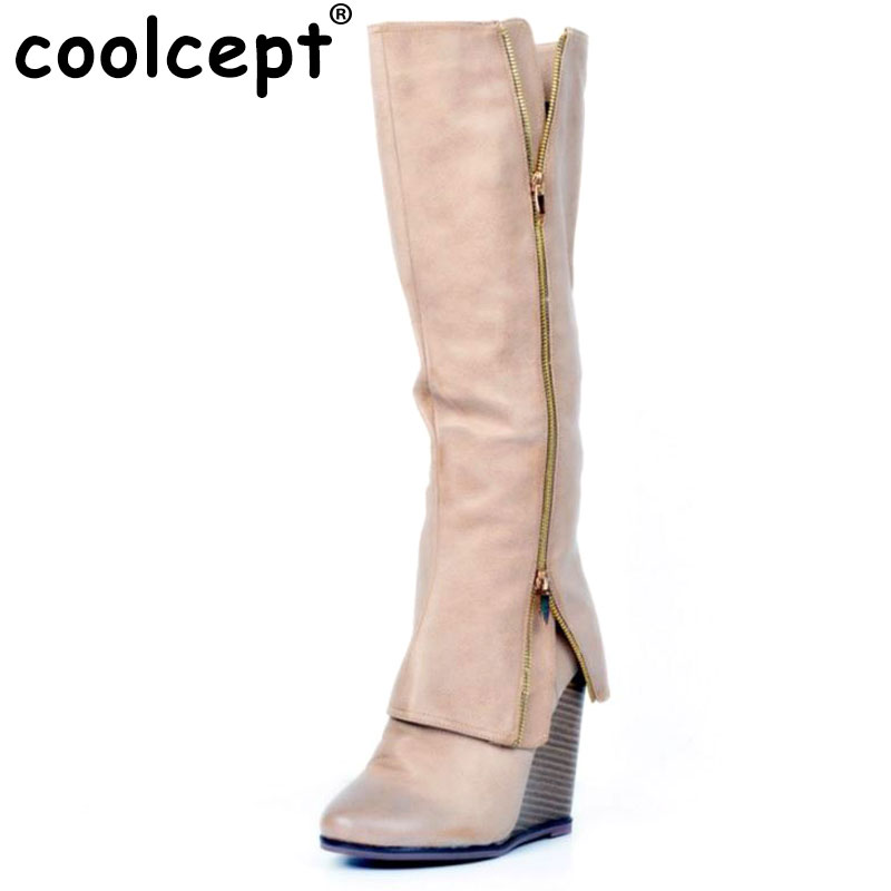 Coolcept Size 34-47 Women Shoes Autumn Winter Ladies Wedge High Heel Boots Knee Thigh High Suede Long Boot Brand Designer women round toe ankle boots woman fashion platform wedge botas ladies brand suede leather high heel shoes footwear size 34 47