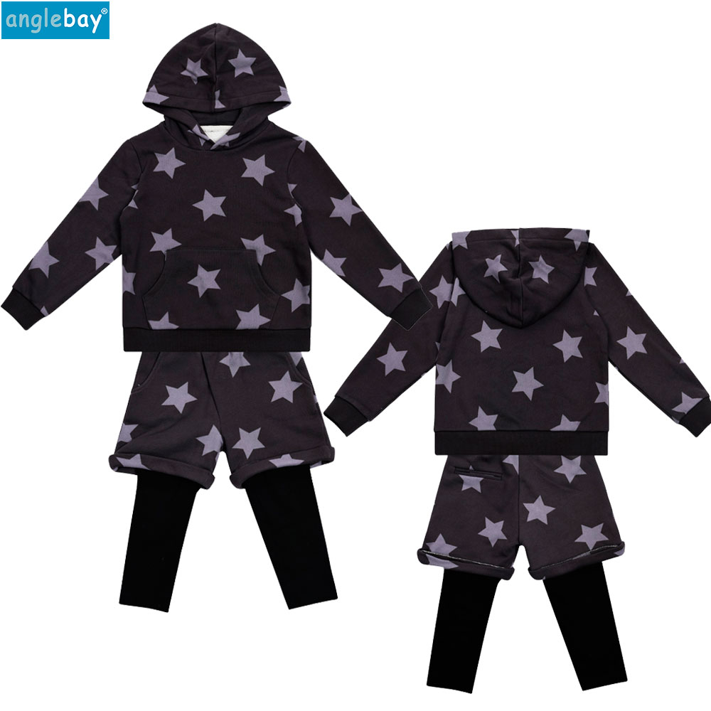White Star Baby Sweatshirt Set Winter Cotton Baby Boys Girls Hooded Sweatshirt Set Long Sleeve Hoodie Two Piece Set Top and Pant