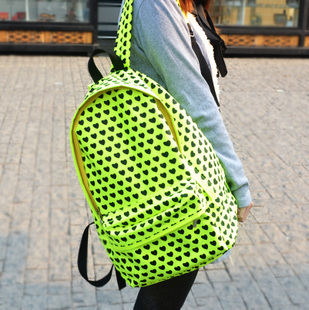 Free shipping neon green preppy style thick nylon backpack fashion ...