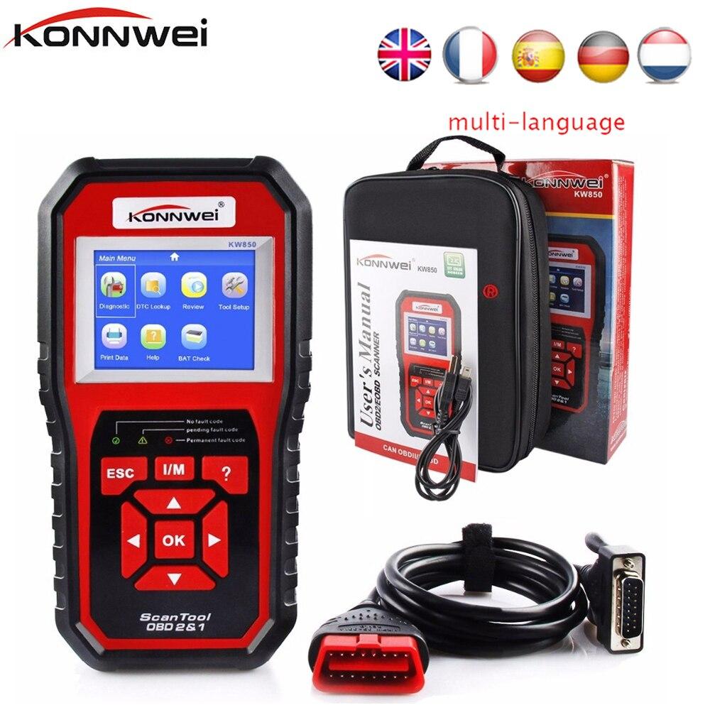 KONNWEI KW850 OBD2 ODB2 Scanner Auto Diagnostica Scanner per VAG BMW Toyota OBD 2 Lettore di Codice Auto Cancellare Gli Errori di Auto scanner strumenti