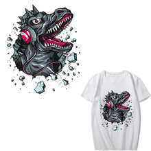 Iron on Music Dinosaur Patches for Clothing DIY T-shirt Applique Heat Transfer Vinyl Washable Stickers on Clothes Thermal Press тестер cem dt 9130