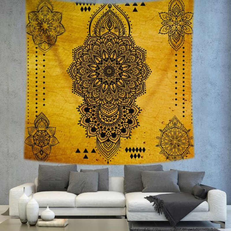 Retro Rectangular tapestry Indian Mandala Tapestry Hippie Wall ...