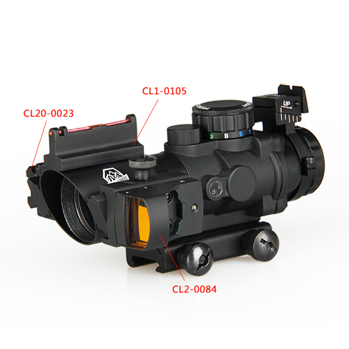 One Sef Of 4x32 Dual Ill Tactical Compact Scope W/ Fiber Optic Sight With Optic Sight With Laser Sight For Hunting Gz10291
