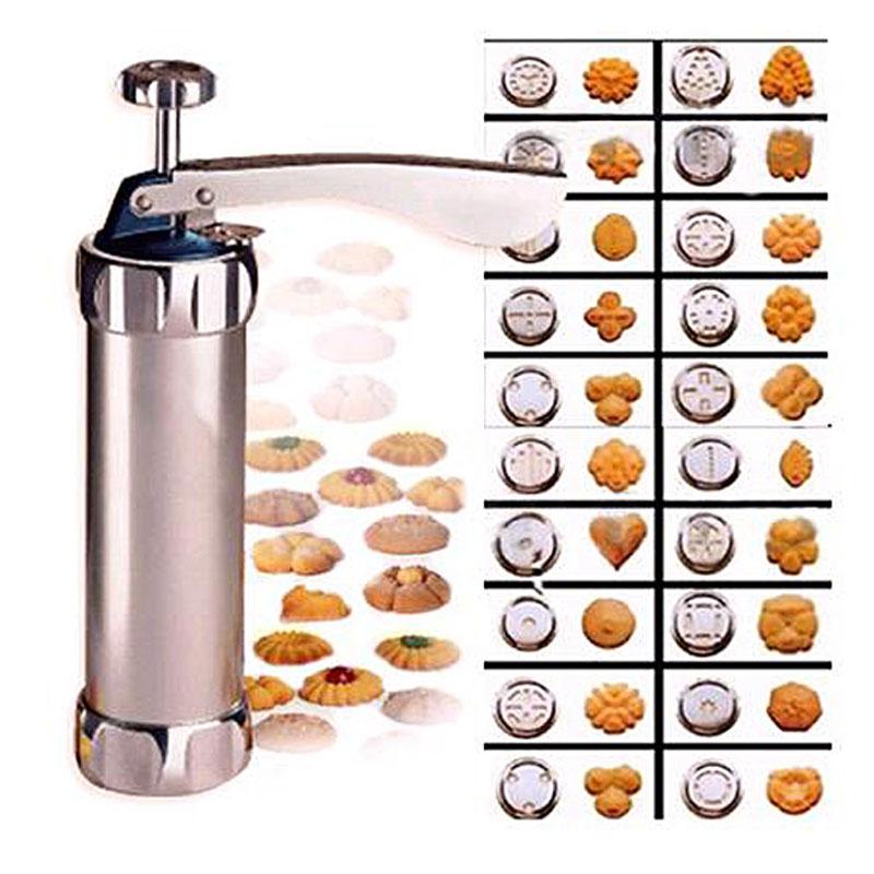 Cortador de galletas Inyector de crema Galleta Máquina de la prensa de galletas Moldes para pasteles Herramientas para hornear de cocina Con 20 moldes para galletas y 4 boquillas