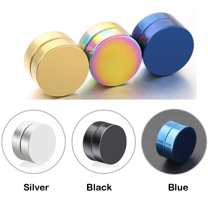 2018 Black Stainless Titanium Steel Round Magnetic Clip on Black Fake Stud Earrings Mens Magnetic Earrings Magnet Earring Gift