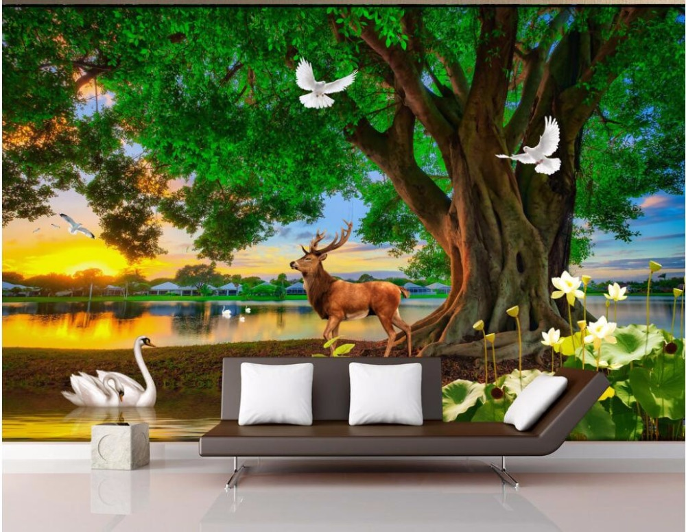 Custom mural photo 3d wallpaper green tree elk swan lake scenery room decoration painting 3d wall murals wallpaper for walls 3 d no frame canvas