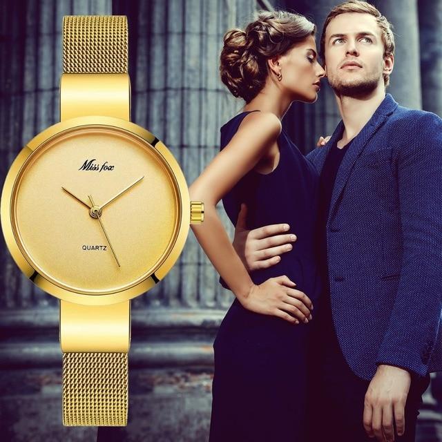 Miss Fox Women Gold Fashion Minimalist Watch Stainless Steel Mesh Ultra Thin Waterproof Causal Small Analog Quartz Female Watch