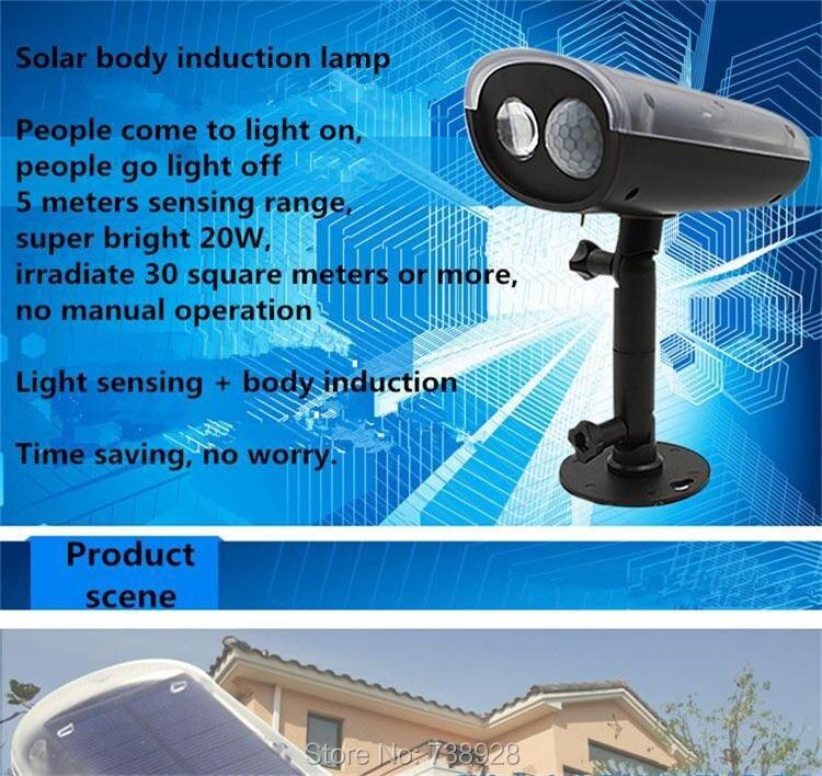 3W LED Solar Lamp Outdoor PIR Motion Sensor Solar Lights Waterproof Garden Emergency Security Spotlight Wall Mount Night Lights 1