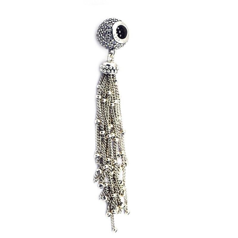 2018 Spring New 925 Sterling Silver Enchanted Tassel Charm Original Beads Fit Pandora Bracelets DIY for Women Jewelry Making