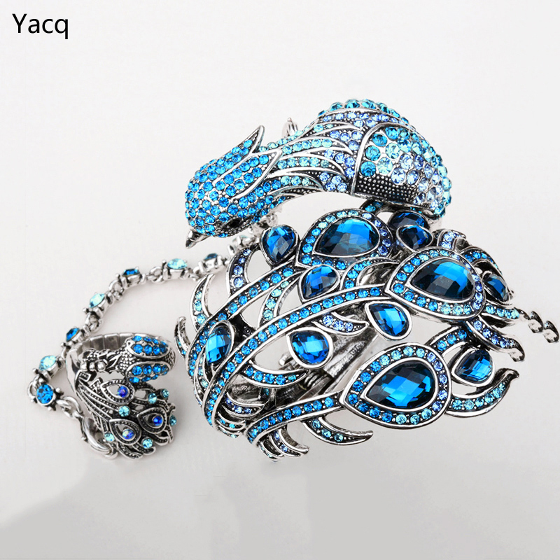 YACQ Peacock Bangle Bracelet Slave Hand Chain Attached Ring Sets Women Jewelry Gifts A23 Silver Color Dropshipping Wholesale