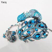 Yacq павлин браслет раб ручная цепь кольцом Наборы для ухода за кожей Для женщин jewelry подарки A23 серебро Цвет Dropshipping Оптовая