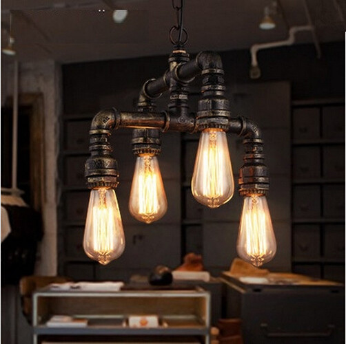 Water Pipe Loft Style Lamp Edison Pendant Lights Fixtures Vintage Industrial Hanging Lamp For Dining Room Bar Lamparas Colgantes rust color water pipe steampunk vintage pendant lights for dining room bar home decoration american industrial loft pendant lamp
